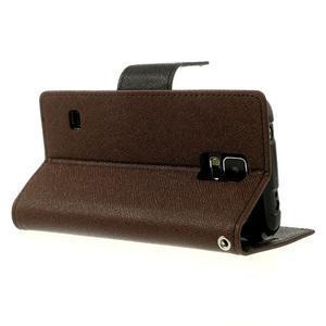 Diary peňaženkové puzdro pre Samsung Galaxy S5 - hnedé - 3