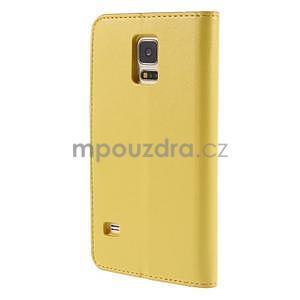 Elegantní peňaženkové puzdro pre Samsung Galaxy S5 - žlté - 3