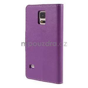 Elegantní peňaženkové puzdro pre Samsung Galaxy S5 - fialové - 3