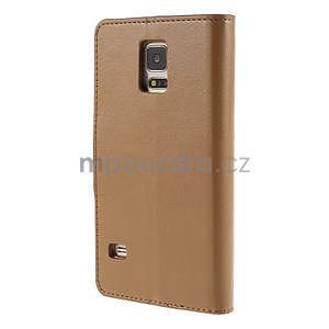 Elegantní peněženkové pouzdro na Samsung Galaxy S5 - hnědé - 3