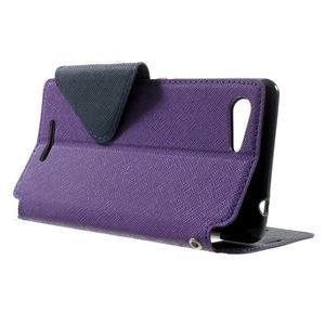 Peňaženkové puzdro s okienkom na Sony Xperia E3 - fialové - 3