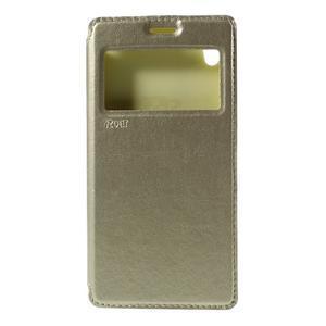 Okýnkové PU kožené pouzdro na Sony Xperia M4 Aqua - zlaté - 3