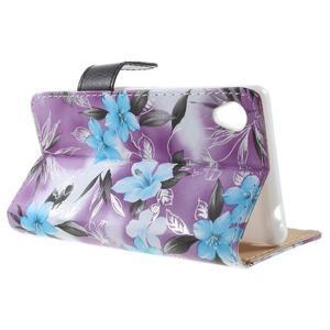 Květinkové pouzdro na mobil Sony Xperia M4 Aqua - fialové - 3