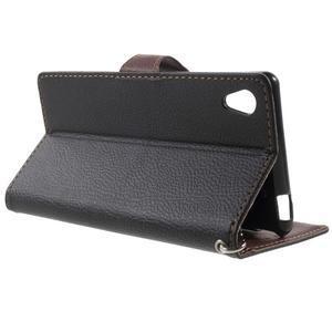 Leaf PU kožené pouzdro na mobil Sony Xperia M4 Aqua - černé - 3