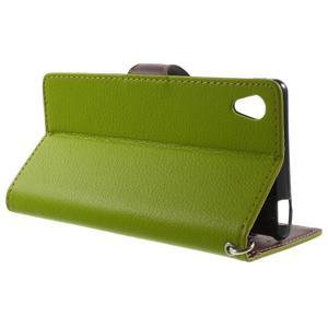Leaf PU kožené puzdro pre mobil Sony Xperia M4 Aqua - zelené - 3