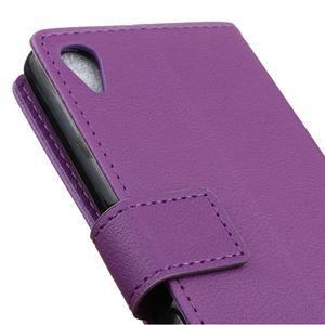 Grain koženkové pouzdro na Sony Xperia X - fialové - 3
