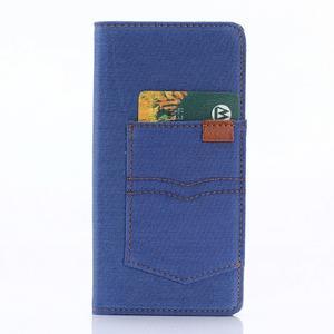 Jeans Peňaženkové puzdro pre Sony Xperia X - modré - 3