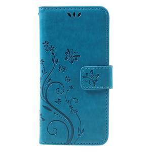 Butterfly PU kožené puzdro pre Sony Xperia X - modré - 3