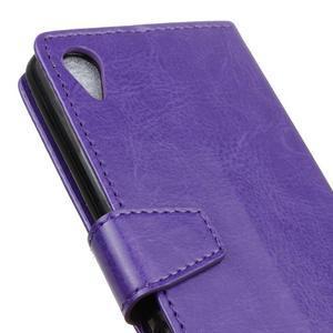 Horse PU kožené pouzdro na Sony Xperia X - fialové - 3