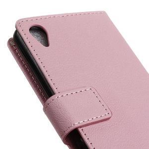 Grain koženkové puzdro pre Sony Xperia X - ružové - 3
