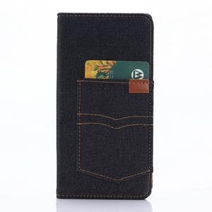 Jeans Peňaženkové puzdro pre mobil Sony Xperia XA - černomodré - 3
