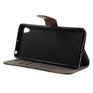 Denim textilné/koženkové puzdro pre Sony Xperia XA - čierne - 3