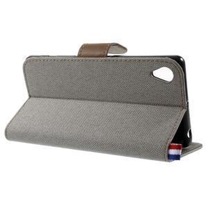 Denim textilní/koženkové pouzdro na Sony Xperia XA - šedé - 3