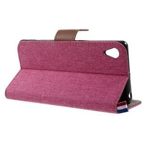 Denim textilné/koženkové puzdro pre Sony Xperia XA - rose - 3