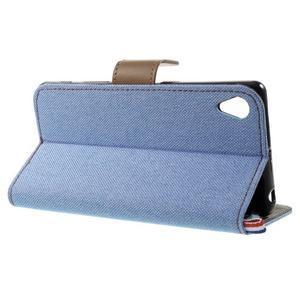 Denim textilní/koženkové pouzdro na Sony Xperia XA - světlemodré - 3