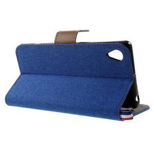 Denim textilní/koženkové pouzdro na Sony Xperia XA - modré - 3