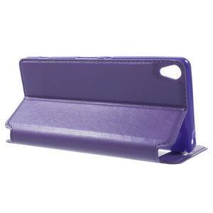 Royal PU kožené puzdro s okienkom na Sony Xperia XA - fialové - 3