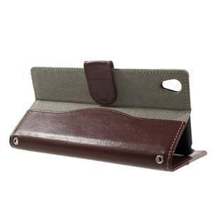 Jeansy PU kožené/textilné puzdro pre Sony Xperia XA - sivé - 3