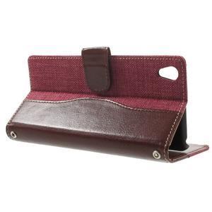 Jeansy PU kožené/textilné puzdro pre Sony Xperia XA - rose - 3