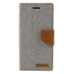 Canvas PU kožené/textilné puzdro pre mobil Sony Xperia XA - sivé - 3
