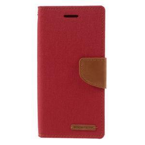 Canvas PU kožené/textilné puzdro pre mobil Sony Xperia XA - červené - 3