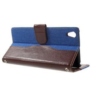 Jeansy PU kožené/textilné puzdro pre Sony Xperia XA - modré - 3