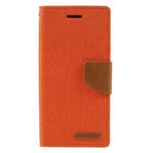 Canvas PU kožené/textilné puzdro pre mobil Sony Xperia XA - oranžové - 3