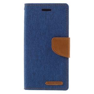 Canvas PU kožené/textilné puzdro pre mobil Sony Xperia XA - modré - 3