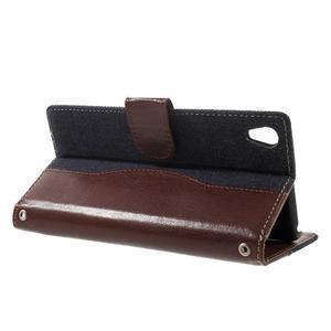 Jeansy PU kožené/textilné puzdro pre Sony Xperia XA - tmavomodré - 3