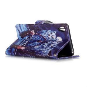 Emotive PU kožené knížkové puzdro pre Sony Xperia XA - mýtičtí vlci - 3