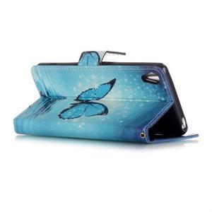 Emotive PU kožené knížkové pouzdro na Sony Xperia XA - modrý motýl - 3