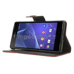 Štýlové Peňaženkové puzdro pre Sony Xperia Z2 - červené/čierne - 3