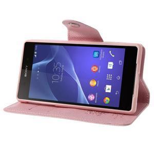 Štýlové Peňaženkové puzdro pre Sony Xperia Z2 - ružové - 3
