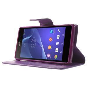 Sonata PU kožené puzdro pre mobil Sony Xperia Z2 - fialové - 3