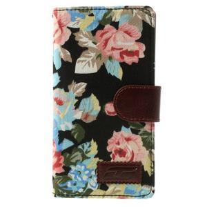 kvetinové puzdro pre mobil Sony Xperia Z2 - čierne - 3