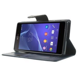 Sonata PU kožené pouzdro na mobil Sony Xperia Z2 - tmavěmodré - 3