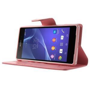 Sonata PU kožené puzdro pre mobil Sony Xperia Z2 - ružové - 3