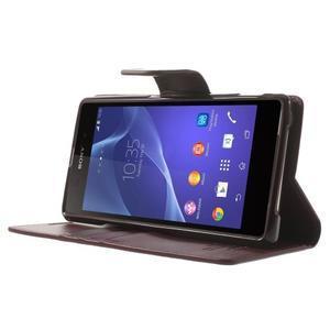 Sonata PU kožené puzdro pre mobil Sony Xperia Z2 - vínovej - 3