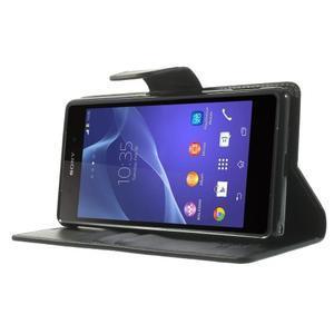 Sonata PU kožené pouzdro na mobil Sony Xperia Z2 - černé - 3