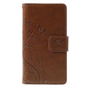 Butterfly PU kožené pouzdro na mobil Sony Xperia Z3 Compact - hnědé - 3