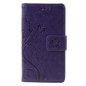 Butterfly PU kožené puzdro pre mobil Sony Xperia Z3 Compact - fialové - 3