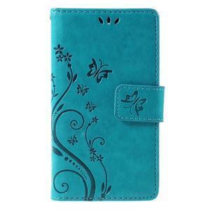 Butterfly PU kožené puzdro pre mobil Sony Xperia Z3 Compact - modré - 3