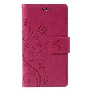 Butterfly PU kožené puzdro pre mobil Sony Xperia Z3 Compact - rose - 3