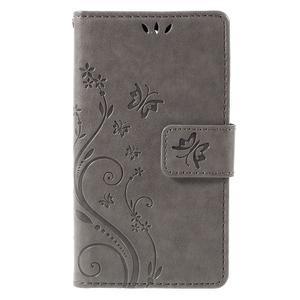 Butterfly PU kožené pouzdro na mobil Sony Xperia Z3 Compact - šedé - 3