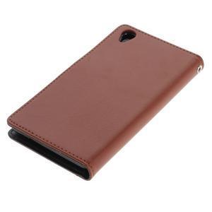 Luxury PU kožené pouzdro na mobil Sony Xperia Z3 - hnědé - 3