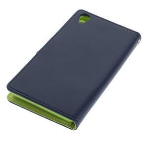 Luxury PU kožené puzdro pre mobil Sony Xperia Z3 - tmavomodré - 3