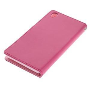 Luxury PU kožené pouzdro na mobil Sony Xperia Z3 - rose - 3
