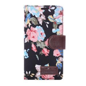 kvetinové puzdro pre mobil Sony Xperia Z3 - čierne - 3