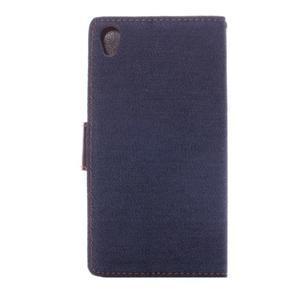 Jeans knížkové puzdro pre mobil Sony Xperia Z3 - černomodré - 3