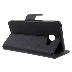 Cloth peňaženkové puzdro pre mobil Samsung Galaxy A3 (2016) - čierne - 3